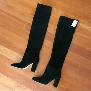 Zara knee high suede leather boots